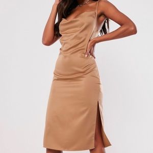 mocha satin strappy cowl midi dress missguided